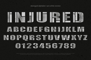 industrial style alphabet letters and numbers. vector font type design. grunge lettering icons. bold typesetting. damaged typeface template