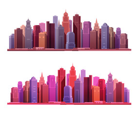 Big modern city with skyscrapers. Construction or building icons. Vector illustration