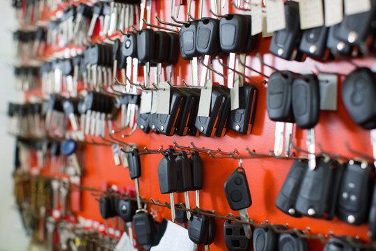 Assortment of car key duplicates at display