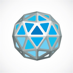 3d vector low poly blue spherical object, perspective orb create