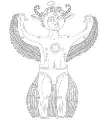 Vector hand drawn graphic monochrome illustration of bizarre cre