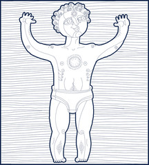 Vector black and white illustration of nude male, Adam concept.