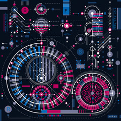 Architectural blueprint, vector digital background with differen