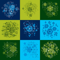 Set of modular Bauhaus vector backgrounds, created from simple g