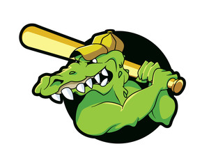 Mascot Head Crocodile Alligator Angry Sport Player Baseball