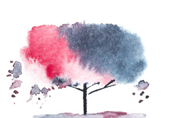 Black and pink watercolor tree