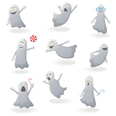 Set of funny ghosts on a white background