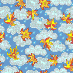 Seamless pattern on the theme of autumn maple leaves , raindrops and clouds in the sky