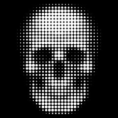 Human skull in halftone dots style