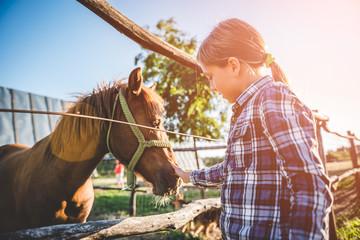 Little girl cuddle horse