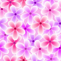 Seamless background of spring illustration with cute colorful purple flowers suitable for wrapping paper and wallpaper