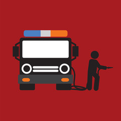 Fire Truck With A Man Vector Illustration