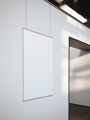 Modern bright gallery with white poster. 3d rendering