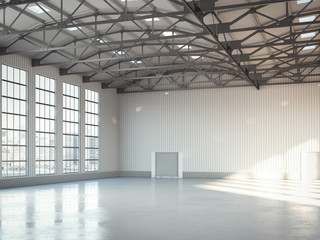 Empty building bright hangar interior. 3d rendering