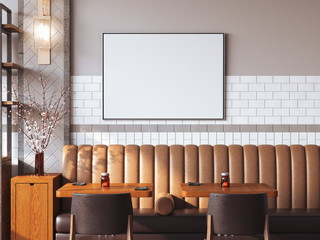 Bright restaurant interior with blank canvas. 3d rendering