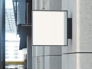 Square signboard on a office building. 3d rendering