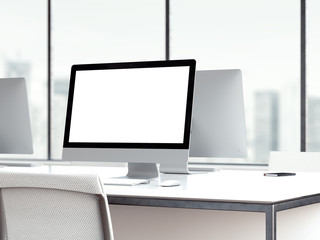 Workspace with blank monitor screen. 3d rendering
