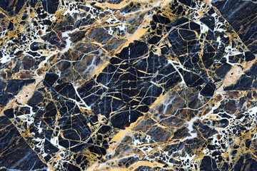 Yellow pattern structure of dark marble pattern for background.