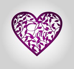 Laser cut heart label.