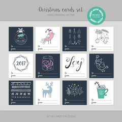 Christmas greeting card set with cute hand drawing elements. Iso