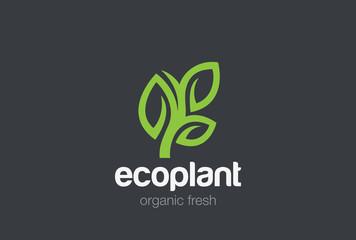 Green Plant Logo vector. Cosmetics Spa Medicine Organic eco icon