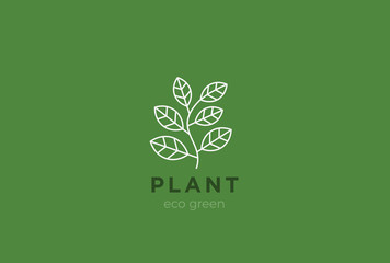 Plant Logo vector Cosmetics, Beauty Organic eco food icon