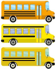 Vector set of yellow school buses.
