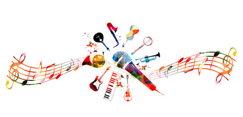 Creative music style template vector illustration, colorful guitar, microphone, piano keyboard, french horn, saxophone, trumpet, violoncello, contrabass, banjo, traditional Portuguese guitar, bouzouki