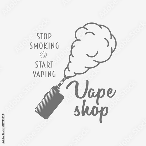 Vape shop badge, logo or symbol design concept isolated on