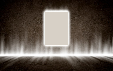 Poster in mysterious glowing interior, background, template desi