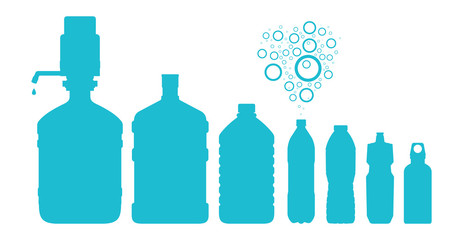 Set of water bottles. Vector illustration.