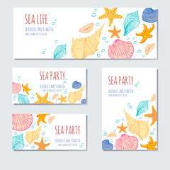 Seashells, Starfish. Vector banners. Hand drawn sketch. Greeting card, invitation.