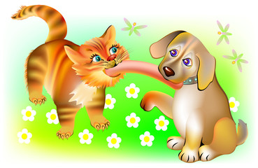 Illustration of cat and dog biting one sausage, vector cartoon image.