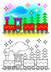 Colorful and black and white pattern train, vector cartoon image.