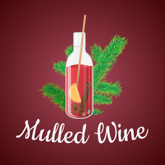 Vector illustration of mulled wine in a bottle with Christmas tree branch