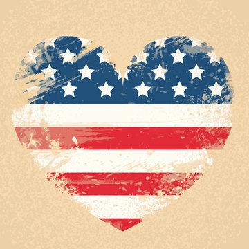 United States Flag Heart National USA Patriot