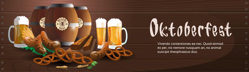 Beer Glass Mug Barrel With Sausage Pretzel Oktoberfest Festival Banner
