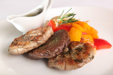 pork steaks with vegetables