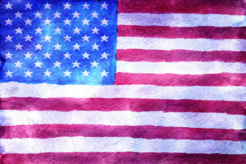 American flag in watercolor