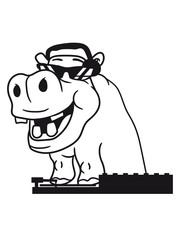 mischpult party dj music disco headphones sunglasses cool hang celebrate hippopotamus humor comic cartoon