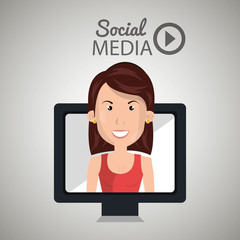 woman social media apps vector illustration eps10
