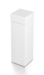 White tall vertical rectangle blank box with cover from top far side angle.
