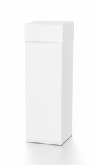 White tall vertical rectangle blank box with cover from top front far side angle.