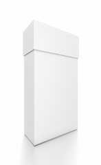 White thin vertical rectangle blank box with cover from front side angle.