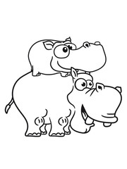 papa mama family fun outing piggyback laughing funny comic cartoon design sweet little cute baby hippo happy child