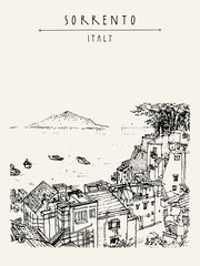 Sorrento, Italy, Europe. Above view. Vesuvio volcano, trees, sea. Sketchy line art. Artistic illustration drawing. Hand lettering. Touristic postcard poster template, book illustration