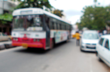 Blurred view of traffic on road,India