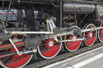 Ulan-Ude, RUSSIA - July, 16 2014: Wheels of old vintage steam locomotive Ea series on the station in Russia