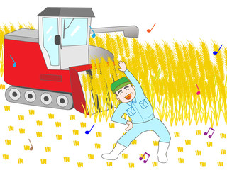 麦刈りの合間にエクササイズの農夫