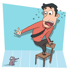 man standing on chair afraid of rat.
